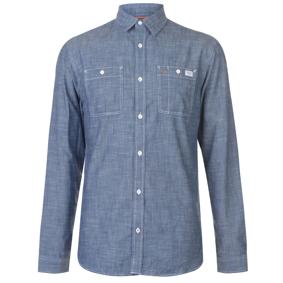 Jack And Jones Core Chicago Langarm Hemd Shirt Chambray_Blau