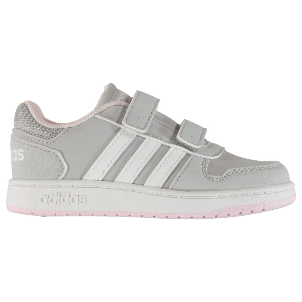adidas Mädchen Turnschuhe Hoops LtGrau_Wht_Pink